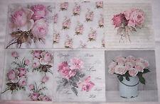 6 Servietten Roses Rosen Shabby Vintage Sagen Nostalgie Mix