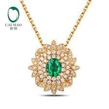 18K Yellow Gold 0.55ct Natural Oval Emerald 0.35ct  Diamond Pendant Wholesale