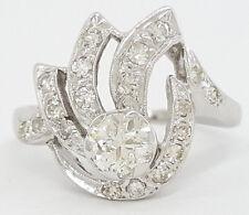 0.88 ct Vintage Antique 14K White Gold Old European Cut Diamond Fashion Ring