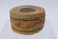 Makah Basket with Lid; Canoes and bird