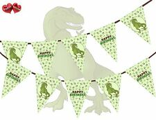 Jurassique Collection-dino T REX joyeux anniversaire vert Bunting Bannière 15 drapeaux UK