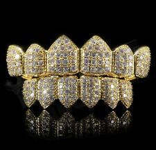 18K Gold Plated Stainless High Quality CZ Top & Bottom GRILLZ Mouth Teeth Grills