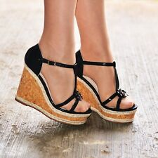 Ladies Platform Strappy Wedge Sandals Open Toe Cork High Heel Metallic Shoe Size