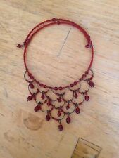 Dark Red Wire Beaded Choker Fashion Costume Jewelry Necklace