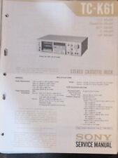 Sony TC-K61 cassette deck service repair workshop manual (original copy)