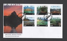 New Zealand 2001 FDC Scenic . 100 Years of Tourism set stamps