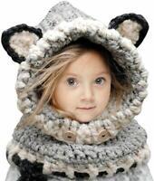 Cute Baby Rabbit Ears Knitted Hat Cap Toddler Warm Hooded Scarf Earflap  Bush