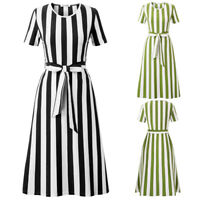 KK Ladies Cocktail Evening Party Short Sleeves Striped Crew Neck A Line Dress