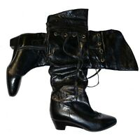 Miz Mooz Women's Semi Patent Leather Riding Boots Tassels Boho Size 6.5
