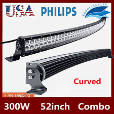 """Curved 52""""inch 300W LED Work Light Bar Combo Driving Off road SUV Car Boat SLIM"""