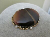 Vintage Tigers Eye Glass Faux Pearl  Gold Tone Metal Oval Brooch Pin