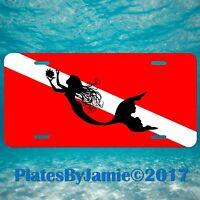 Mermaid Silhouette SCUBA DIVE FLAG  Aluminum Vanity License Plate Tag New