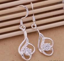 925 Silver Plated Flipped Heart &  Crystal Drop Dangle Earrings  Ladies Gift