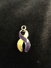 """AUTOIMMUNE HEPATITIS"" PURPLE AND YELLOW AWARENESS RIBBON CHARM"