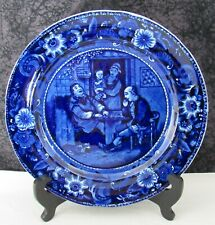 Staffordshire Blue Transferware Wilkie's Playing at Draughts Pearlware Plate