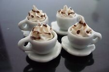 4 Cups of Cappuccino Dollhouse Miniatures Food
