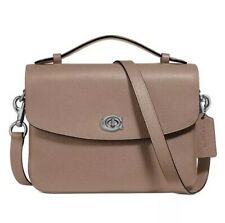 ❤️ Coach Cassie 68348 Taupe/Silver Crossbody in Polished Pebble Leather