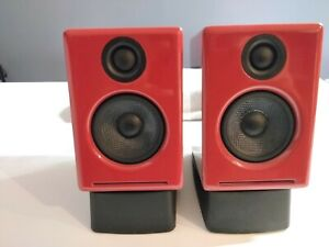 Audioengine A2+ Red Powered Speakers W/ Bluetooth APTX + Stands