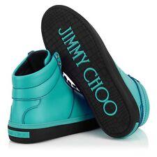 $725 Jimmy Choo Men's Blue Belgravia Malibu Calf Leather High Top Trainers 9