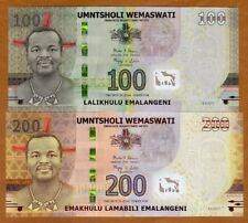 SET Swaziland, 100;200 Emalangeni, 2017, P-New, Hybrid Polymer, UNC > New Design