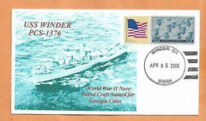 U.S.S WINDER WW II NAVY PATROL CRAFT APR 5,2008 NAVAL COVER