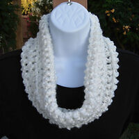 Women's Solid White SUMMER COWL SCARF Small Infinity Loop Handmade Crochet Knit