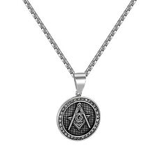 Mens Free Mason Round Medallion Pendant Solid Stainless Steel 24 Inch Necklace