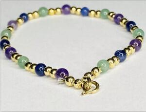 Vintage 14k yellow gold Jade Multicolor Stone Ball Bead Bracelet 7in