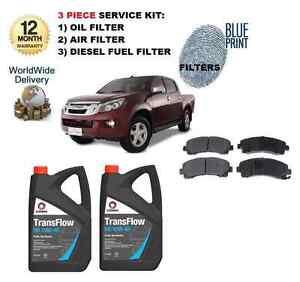 FOR ISUZU D MAX 2.5 DDi 4WD 2012-> NEW SERVICE SET + FRONT PADS & 2x ENGINE OIL