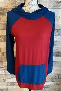 NEW RELEASE LuLaRoe Amber Hoodie Nwt Medium M Beautiful Solid Red Blue Print