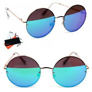 Runde Sonnenbrille Hippie Nickelbrille Lennon Retro Marken Brille Etui Flachglas
