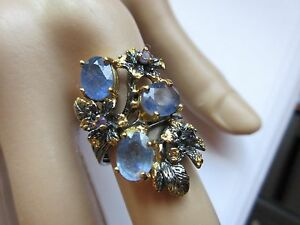 ARTISAN CRAFTED 8X6 MM ALL NATRUAL BLUE SAPPHIRE RING 925 2-TONE STERLING SILVER