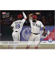 2018 Topps NOW MLB 603 Texas Rangers Triple Play Batter Not Retired Since 1912