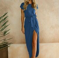 New Midi Dress Blue Front Slit Summer Womens US Sizes Small S Medium M Large L