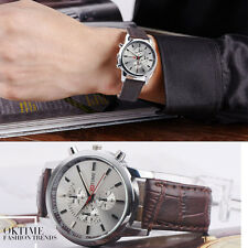 Retro Men Women Leather Stainless Steel Date Watch Quartz Analog Wrist Watches