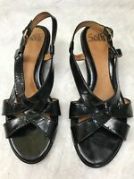 Sofft Women's Slingback Wedge Sandals Black Patent Leather Strappy 9M