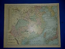 Vintage 1900 Atlas Map ~ CHINA ~ Old Original & Authentic ~ Free S&H