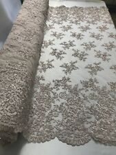 Beaded Fabric - Embroidered Flower Mesh Beads & Sequins Lt Pink By The Yard