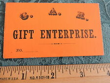 Rare Civil War 1860s GAR Gift Raffle enterprise Ticket