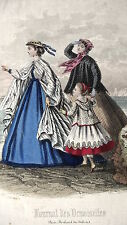 GRAVURE ANCIENNE MODE 19e - JOURNAL DES DEMOISELLES - SEPTEMBRE 1866