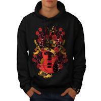 Wellcoda Roses and Guns Rock Mens Hoodie, Band Casual Hooded Sweatshirt