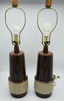 Vintage Martz Marshall Studios Ceramic Pottery Table Lamp Set Mid Century Modern