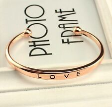 Love Forever Bangle Stainless Gold Steel Cuff Women Wedding Bracelet Bride Gifts