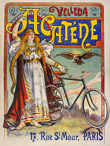 Bicycle Advertising Acatene Paris, Bike Cycle French Art Poster, Canvas Print