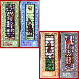 Samoa i Sisifo 1972 Christmas, Noël, ART, stained-glass windows **MNH SG 400-403