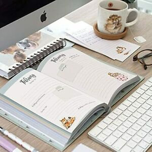 Wrendale Designs Illustrated A5 Desk Diary 2022 with Rabbit in Flower Pot Design