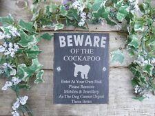 Humorous Beware Of The Cockapoo Slate Dog Plaque