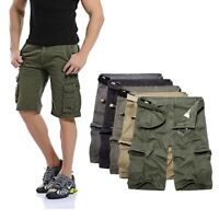 Men's Summer Casual Beach Shorts Pants  Multi-Pocket Cargo Baggy Army Trousers