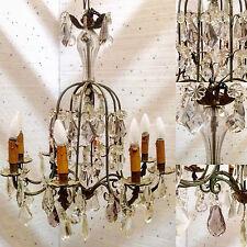 lustre cage plaquettes en cristal comportant huit point de lumière . XX siècle .