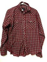Wrangler Boys Long Sleeve Plaid Flannel Pearl Snap Dress Shirt Red Size XXL